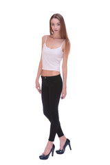 Very thin Young woman staying on white bacground
