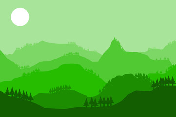 mountain hill landscape sky background.vector and illustration