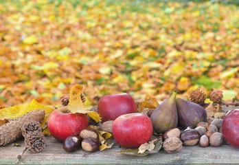 fruits d'automne sur fond de feuilles dorée au sol