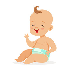 Sweet little baby in a diaper sitting and laughing, colorful cartoon character vector Illustration