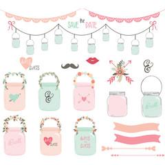 Wedding Mason Jar Collections.Wedding floral,Retro Jar,Lace Border,Arrow,Floral,Banner.