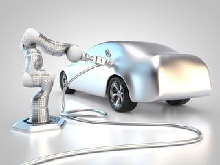 Roboter lädt Elektroauto