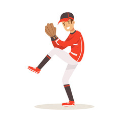 Baseball player in a red uniform pitching vector Illustration