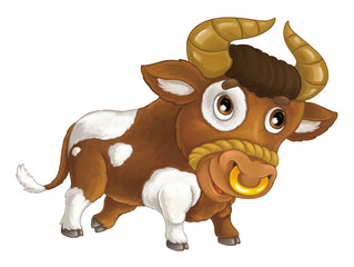 Cartoon happy farm animal - cheerful bull is smiling and looking - artistic style - isolated - illustration for children