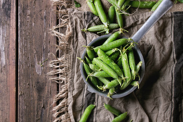 Young organic green pea pods and peas in aluminum colander over old dark wooden planks with sackcloth textile background. Top view with space. Harvest, healthy eating.