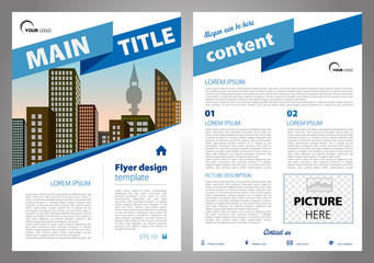 Vector flyer, corporate business, annual report, brochure design and cover presentation with big ribbon in blue color.