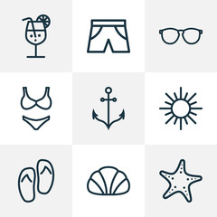 Season Outline Icons Set. Collection Of Conch, Briefs, Beachwear And Other Elements. Also Includes Symbols Such As Armature, Sun, Star.