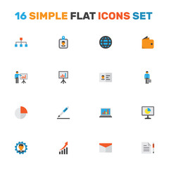 Job Flat Icons Set. Collection Of Presentation Board, Developer, Envelope And Other Elements. Also Includes Symbols Such As Laptop, Work, Identification.