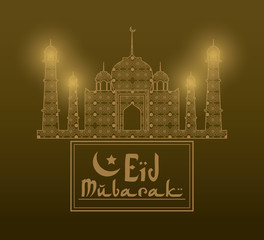 Eid Mubarak greeting with mosque abstract and hand drawn calligraphy with glow lamps vector illustration