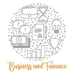 Business illustrations thin line design