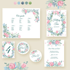 Watercolor wedding invitation cards suite with tender roses and leaves. Hand drawn flowers and plants.