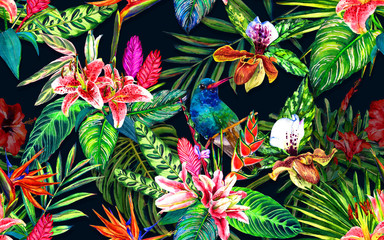 Seamless tropical floral pattern. Hand painted watercolor exotic leaves, flowers and birds, on dark blue background. Textile design.