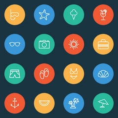 Hot Outline Icons Set. Collection Of Ice Cream, Cocktail, Palm And Other Elements. Also Includes Symbols Such As Sun, Baggage, Island.