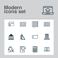 Education Icons Set. Collection Of Opened Book, Diploma, Library And Other Elements. Also Includes Symbols Such As Notebook, Tool, Drawing.