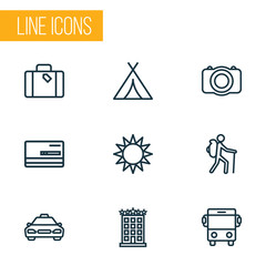Exploration Outline Icons Set. Collection Of Luggage, Building, Sunny And Other Elements. Also Includes Symbols Such As Tourist, Sunny, Gallery.