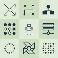 Robotics Icons Set. Collection Of Computing Problems, Branching Program, Solution And Other Elements. Also Includes Symbols Such As Computer, Cycle, Machine.