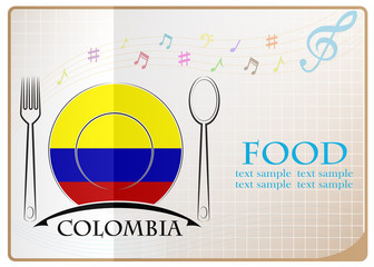 Food logo made from the flag of colombia