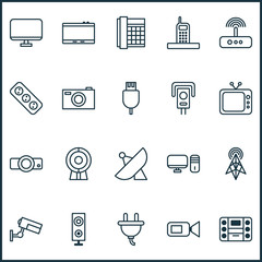 Device Icons Set. Collection Of Web Discussing, Gadget, Digital Camera And Other Elements. Also Includes Symbols Such As Usb, Sputnik, Monitor.