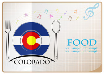 Food logo made from the flag of Colorado