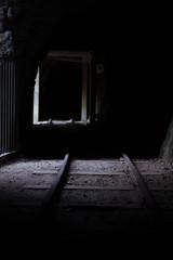 old abandoned mineshaft with mine rails