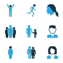 People Colorful Icons Set. Collection Of Client, Female, Child And Other Elements. Also Includes Symbols Such As Female, Worker, Businessman.