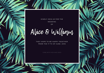 Dark tropical wedding design with exotic plants. Vector tropical background with green phoenix palm leaves.