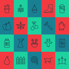 Icons Set. Collection Of Sun Power, Jar, Fruits And Other Elements. Also Includes Symbols Such As Wind, Boot, Floret.