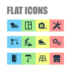 Construction Icons Set. Collection Of Cement Vehicle, Paint Roller, Cogwheel And Other Elements. Also Includes Symbols Such As Crane, Frame, Tools.