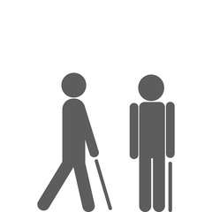 Man walking with cane.
