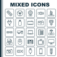 Hardware Icons Set. Collection Of Computer Monitor, Notebook, Security Camera And Other Elements. Also Includes Symbols Such As Television, Music, Slide.