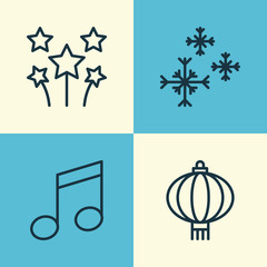 Christmas Icons Set. Collection Of Star Snow, Crotchets, Festive Fireworks And Other Elements. Also Includes Symbols Such As Star, Traditional, Music.