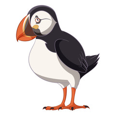 Cartoon smiling Puffin