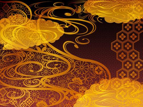 金の和柄波背景素材