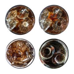Refreshing bubbly soda pop, set of four top view cold cola glasses isolated on white background with clipping path.