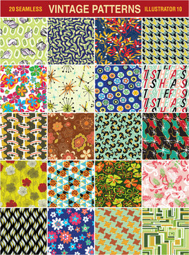 Vintage seamless vector pattern collection