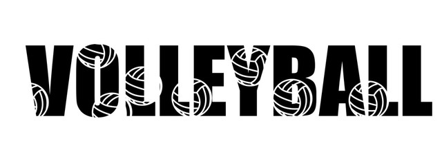 Text Volleyball logo text inversion black white