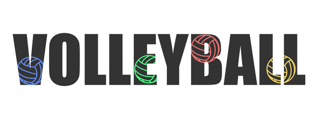 Text Volleyball logo text inversion colors