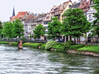 View of Strasbourg houses next to water
