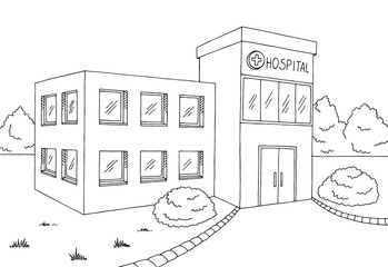 Hospital building graphic black white sketch illustration vector