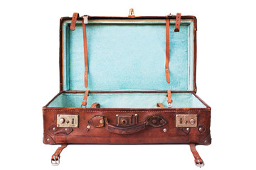 empty vintage suitcase, ready to be filled