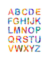 Triangular vector alphabet. Multicolored letters