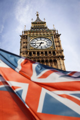 union jack flag and big ben in the background, London, UK - general elections, London, UK