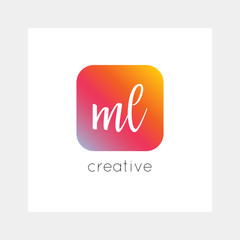 ML logo, vector. Useful as branding, app icon, alphabet combination, clip-art.