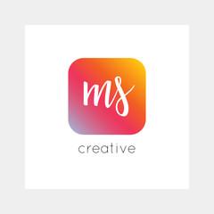 MS logo, vector. Useful as branding, app icon, alphabet combination, clip-art.