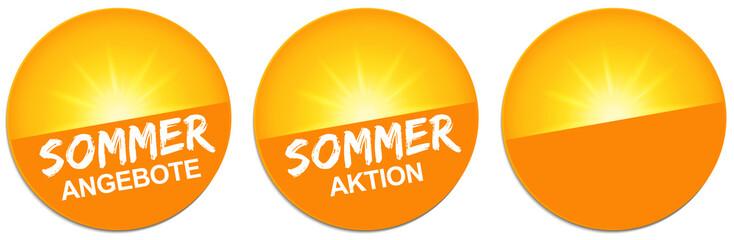 Button Set mit strahlender Sonne - Sommer Angebote / Sommer Aktion