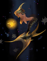 mermaid encounters a shiny squid