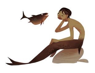 common brown fish merman