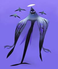 black angel fish mermaid