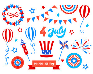 Independence day of America festive doodles set
