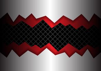 Abstract metal red crack overlap on dark gray square mesh pattern design modern background vector illustration.